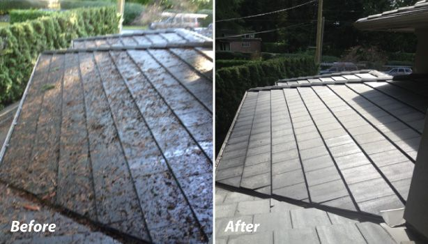de-mossing before and after roof